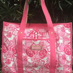 Lilly Pulitzer pink lion tote bag